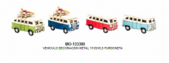 VEHICULO DECORACION METAL 11X5X5,5 FURGONETA