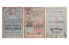 DECORACION PARED MADERA 40X60X1 FRASE 3 SURT.